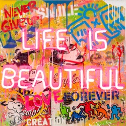 Life is a Comic Book by Mr Brainwash - Neon Light and mixed media in plexi glass box sized 30x30 inches. Available from Whitewall Galleries